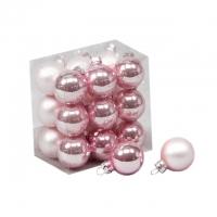 Gömb üveg 3cm rózsaszín fényes-matt 18db