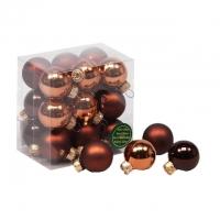 Gömb üveg 3cm sötét barna fényes-matt 18db