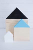 Házak-szett fekete, kék, fehér. Méretek:10x7,5x3, 20x14x3cm, 29,5x21x3cm