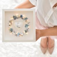 Szeretetkoszorú 3D képkeretben Keresztnév szívvel 23x23 cm fiú, kék
