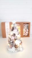 Világítós, vintage karácsonyi kúpfenyő, 27cm, KOMGY