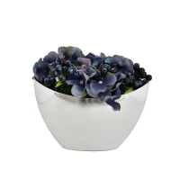 Csónak kaspós asztali dísz kék hortenziával 25x20cm