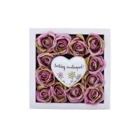 Mályva rózsa fa dobozban Boldog szülinapos szívvel 13x13x4 cm