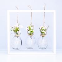 Fehér wax virágos asztali dekoráció hangulatfénnyel 29x26x5 cm