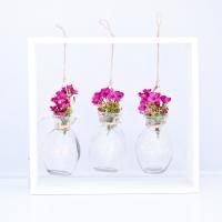 Bordó színű wax virágos asztali dekoráció hangulatfénnyel 29x26x5 cm