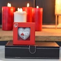 Valentin napi szív ajándék dobozban 9x9x3,5cm