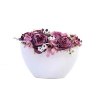 Csónak kaspós asztali dísz rózsával 24x20cm
