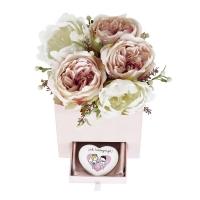 Pénztartó doboz peoniával 18x16x15 Sok boldogságot szívvel