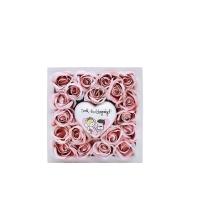 Púder rózsa fa dobozban 13x13x4 cm Sok Boldogságot! szívvel