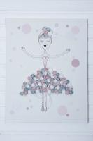 Szürke-fehér-púder rózsás balerinás vászonkép 50x40x3cm