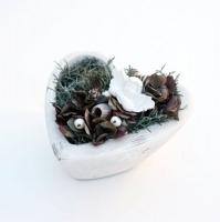 Angyalkás kő szív 17x9cm