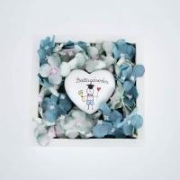 Kék hortenzia fa dobozban Ballagási szívvel fiúknak 13x13x4 cm