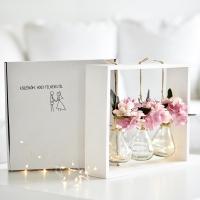 Hortenziás asztali dekoráció, hangulatfénnyel, esküvői ajándéknak