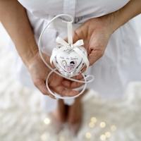 Esküvői szív, plexi tartóban, fémállvánnyal