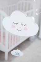 Felhő 20x29x3cm, alszik a baba írással