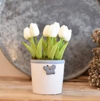 Fehér színű lepkés kaspó fehér tulipánnal
