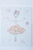 Boglárkás balerinás vászonkép 50x36x3cm