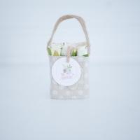 Bézs natur lenvászon kistáska fehér minirózsával, 11x6 cm Sok szeretettel!