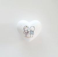 Babaváró ajándék szív 6x6x3.5cm lány