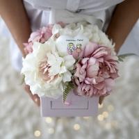 Púder színű, fiókos virágdoboz, Mamáknak
