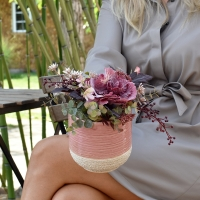 Rózsaszín kaspós, díszkáposztás őszi dekoráció