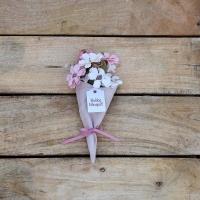 Rózsaszín szütyőben virág 18cm