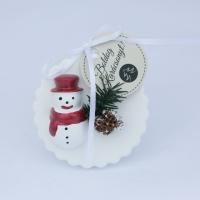 Piros sapkás hóemberes fenyődísz 6x8,5cm