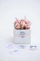 Kockakaspós rózsa 8x8x8cm rózsaszín