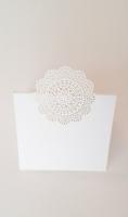 Ültetőkártya rozetta papír 6x6cm fehér 10db