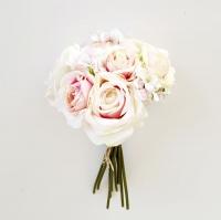 Vegyes rózsacsokor porcelán szín 30 cm