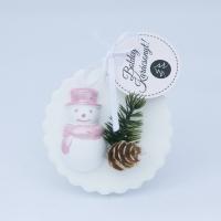 Metál rózsaszín hóemberes fenyődísz 6x8,5cm