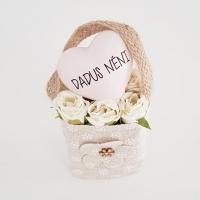 Bézs natur lenvászon kistáska fehér minirózsával, Dadus néni 11x6 cm púder szívvel