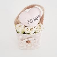 Bézs natur lenvászon kistáska fehér minirózsával, Óvó néni 11x6 cm púder szívvel