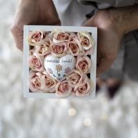 Barack rózsa fa dobozban, Szeretettel... szivvel