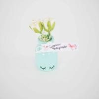 Pillás kisüveg selyem rózsával 7cm Szeretettel ballagásodra! menta