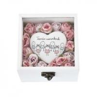 Gyapjú fenyő egérkével 25cm rózsaszín