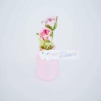 Unikornisos kisüveg selyem rózsával 7cm Suliba megyek! rózsaszín