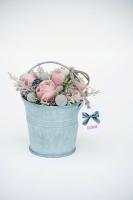 Bádogvödrös ajándék vintage rózsával 10cm