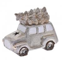 Autó fenyőfával glitteres, kerámia 16x9x12cm arany