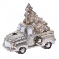 Autó fenyőfával glitteres, kerámia 16x9x14cm arany