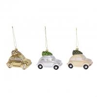 Autó fenyővel dísz, akasztós műanyag 11x5.9x7.1cm gyöngyház/krém/arany 3 féle