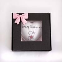 Valentin napi szív ajándék dobozban masnis 9x9x3,5cm