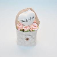 Bézs natur lenvászon kistáska barack minirózsával,szívvel Dadus néni 11x6 cm Jelenleg a terméket fehér mini rózsával tudjuk küldeni.